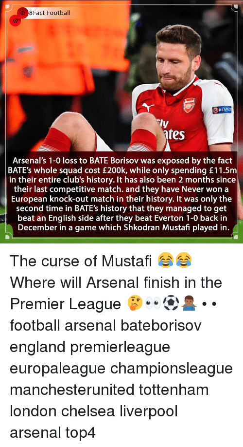 Everton: 8Fact Football  RESPC  ly  fes  Arsenal's 1-0 loss to BATE Borisov was exposed by the fact  BATE's whole squad cost £200k, while only spending £11.5m  in their entire club's history. It has also been 2 months since  their last competitive match. and they have Never won a  European knock-out match in their history. It was only the  second time in BATE's history that they managed to get  beat an English side after they beat Everton 1-0 back in  December in a game which Shkodran Mustafi played in. The curse of Mustafi 😂😂 Where will Arsenal finish in the Premier League 🤔👀⚽️🤷🏾‍♂️ • • football arsenal bateborisov england premierleague europaleague championsleague manchesterunited tottenham london chelsea liverpool arsenal top4