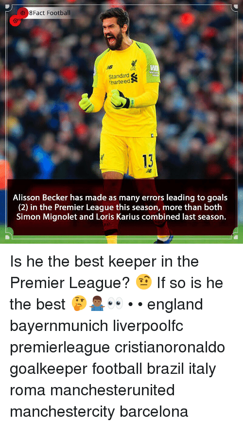 roma: 8Fact Football  Standard  harteedS  c.  13  Alisson Becker has made as many errors leading to goals  (2) in the Premier League this season, more than both  Simon Mignolet and Loris Karius combined last season. Is he the best keeper in the Premier League? 🤨 If so is he the best 🤔🤷🏾♂️👀 • • england bayernmunich liverpoolfc premierleague cristianoronaldo goalkeeper football brazil italy roma manchesterunited manchestercity barcelona