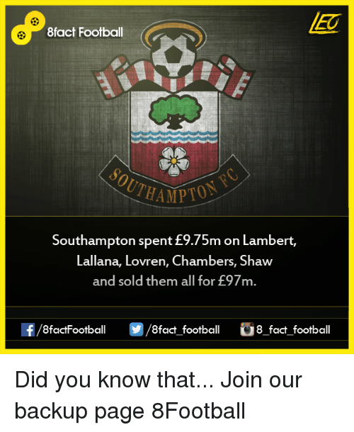 lambert: 8fact Football  THAMPTO  Southampton spent m on Lambert,  Lallana, Lovren, Chambers, Shaw  and sold them all for E97m.  OO  8fact football 8 fact football Did you know that...  Join our backup page 8Football