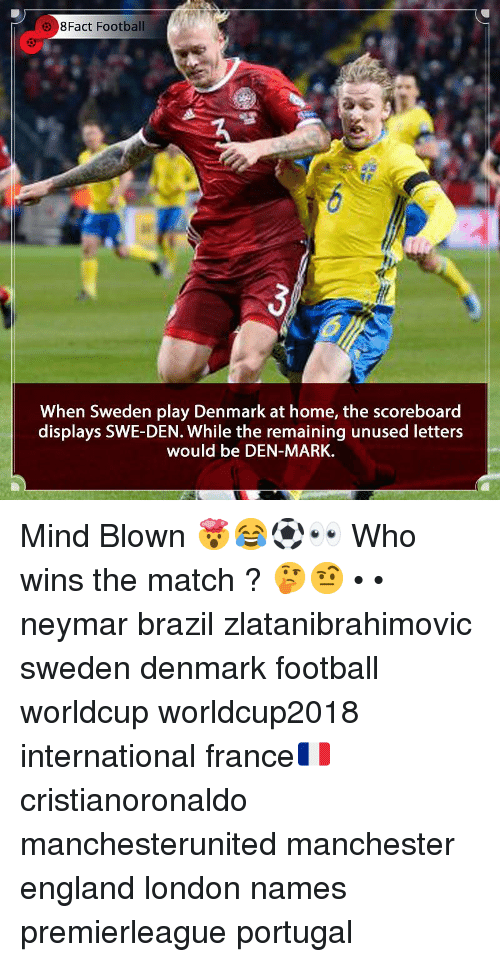 Worldcup: 8Fact Football  When Sweden play Denmark at home, the scoreboard  displays SWE-DEN. While the remaining unused letters  would be DEN-MARK. Mind Blown 🤯😂⚽️👀 Who wins the match ? 🤔🤨 • • neymar brazil zlatanibrahimovic sweden denmark football worldcup worldcup2018 international france🇫🇷 cristianoronaldo manchesterunited manchester england london names premierleague portugal