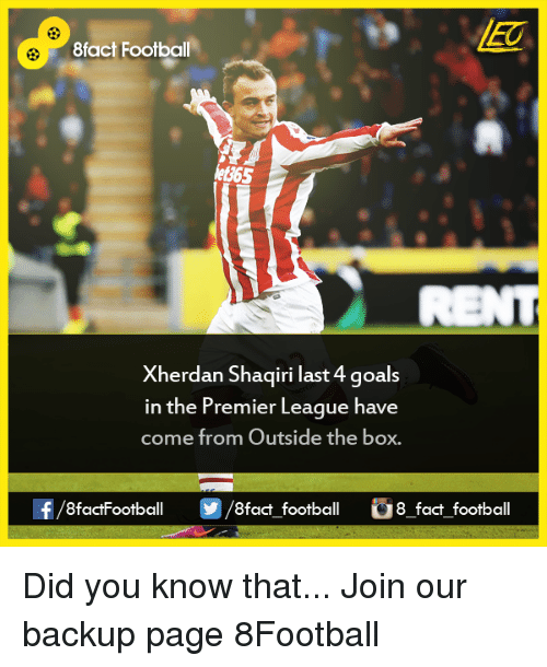 memes: 8fact Football  Xherdan Shaqiri last 4 goals  in the Premier League have  come from Outside the box.  8factFootball  8fact football  8 fact football Did you know that...  Join our backup page 8Football