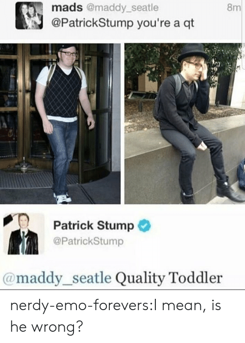 Nerdy: 8m  mads @maddy_seatle  @PatrickStump you're a qt  PT Patrick Stump  @PatrickStump  @maddy_seatle Quality Toddler nerdy-emo-forevers:I mean, is he wrong?