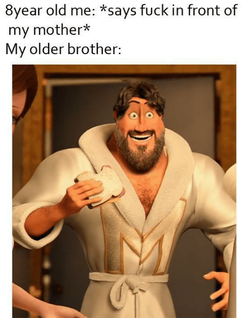 Older Brother: 8year old me: *says fuck in front of  my mother*  My older brother: