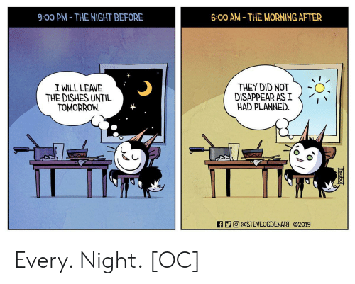 The Morning After: 9:00 PM- THE NIGHT BEFORE  6:00 AM THE MORNING AFTER  I WILL LEAVE  THE DISHES UNTIL  TOMORROW  THEY DID NOT  DISAPPEAR AS I  HAD PLANNED.  0  ECO) @STEVEOGDENART ⓒ2019 Every. Night. [OC]