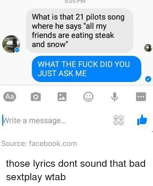 """21 Pilots: 9.05 PM  What is that 21 pilots song  where he says """"all my  friends are eating steak  and snow""""  WHAT THE FUCK DID YOU  JUST ASK ME  Aa  23  Write a message...  Source: facebook.com those lyrics dont sound that bad sextplay wtab"""
