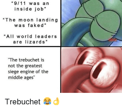 "trebuchet: ""9/11 was a n  inside job  ""The moon landing  was ""  faked  ""All world leaders  are lizards""  The trebuchet is  not the greatest  siege engine of the  middle ages <p>Trebuchet 😂👌</p>"