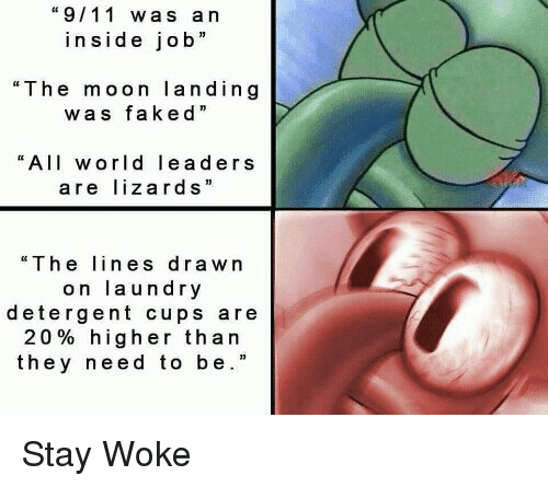 """stay woke: """"9/11 was an  inside job""""  """"The moon landing  was faked  """"All world leaders  are lizards  """"The ines drawn  on laundry  detergent cups are  20% higher than  they need to be."""" <p>Stay Woke</p>"""