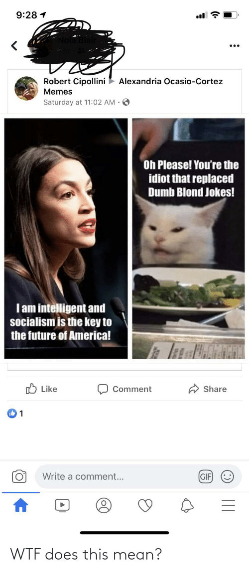 cortez: 9:28 1  Nola Blair  Robert Cipollini  Alexandria Ocasio-Cortez  Memes  Saturday at 11:02 AM •  Oh Please! You're the  idiot that replaced  Dumb Blond Jokes!  Iam intelligent and  socialism is the key to  the future of America!  O Like  Share  Comment  Write a comment...  (GIF)  (:)  || WTF does this mean?