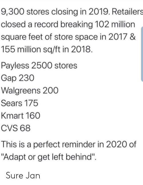 "Sure Jan: 9,300 stores closing in 2019. Retailers  closed a record breaking 102 million  square feet of store space in 2017 &  155million sq/ft in 2018.  Payless 2500 stores  Gap 230  Walgreens 200  Sears 175  Kmart 160  CVS 68  This is a perfect reminder in 2020 of  ""Adapt or get left behind"" Sure Jan"