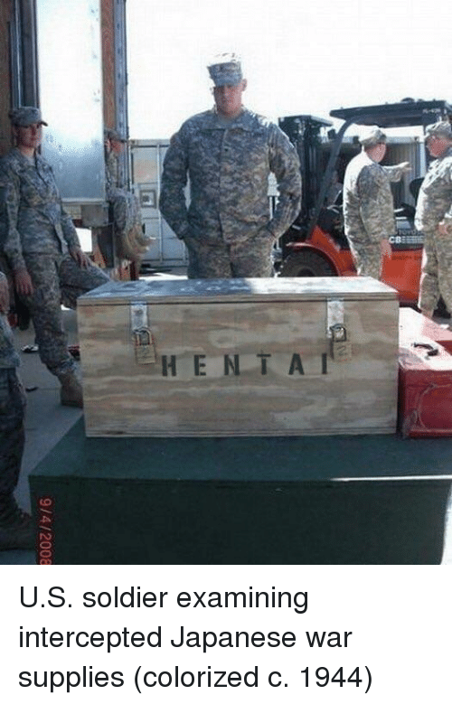 Intercepted: 9/4/2008 U.S. soldier examining intercepted Japanese war supplies (colorized c. 1944)