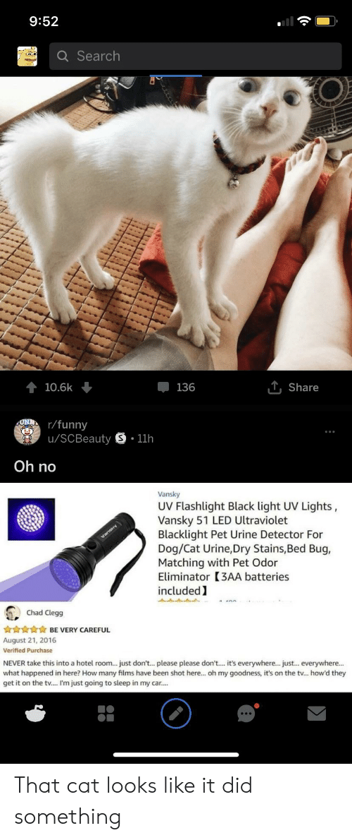 cat urine: 9:52  Q Search  10.6k  136  T. Share  r/funny  u/SCBeauty S.11h  Oh no  Vansky  UV Flashlight Black light UV Lights,  Vansky 51 LED Ultraviolet  Blacklight Pet Urine Detector For  Dog/Cat Urine,Dry Stains,Bed Bug,  Matching with Pet Odor  Eliminator (3AA batteries  included  Chad Clegg  BE VERY CAREFUL  August 21, 2016  Verified Purchase  NEVER take this into a hotel room... just don't...please please don'... it's everywhere... just... everywhere...  what happened in here? How many films have been shot here... oh my goodness, it's on the tv... how'd they  get it on the tv.... I'm just going to sleep in my car. That cat looks like it did something