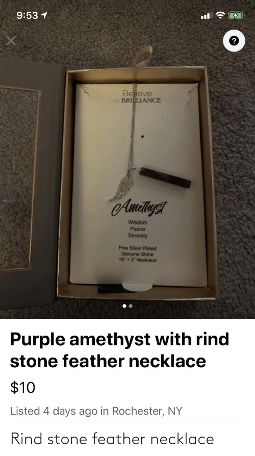 "plated: 9:53 1  47  ll  Beieve  by BRILIANCE  AmetlysT  Wisdom  Peace  Serenity  Fine Silver Plated  Genuine Stone  18 + 2"" Neckiace  Purple amethyst with rind  stone feather necklace  $10  Listed 4 days ago in Rochester, NY Rind stone feather necklace"