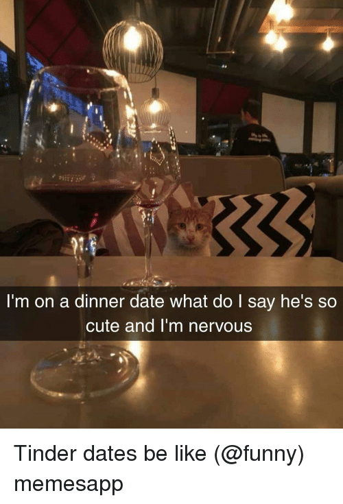 dinner date: 9  I'm on a dinner date what do I say he's so  cute and I'm nervous Tinder dates be like (@funny) memesapp