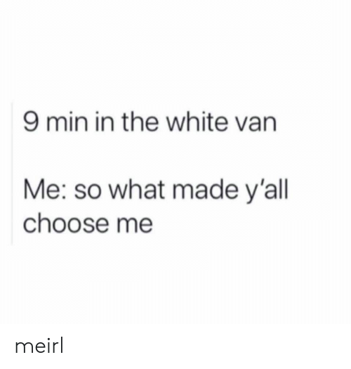 so what: 9 min in the white van  Me: so what made y'all  choose me meirl
