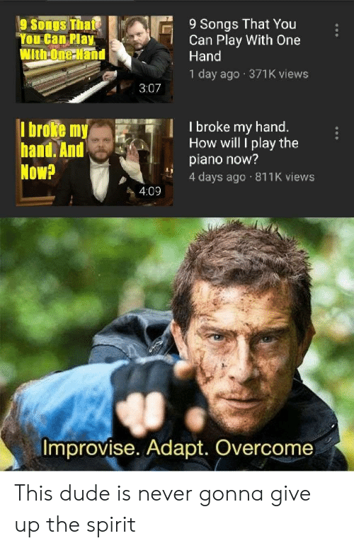 "4 Days: 9 Songs That You  Can Play With One  Hand  9 Songs Thate  ""You Can Play  WithOne Hand  1 day ago 371K views  3:07  I broke my hand.  How will I play the  piano now?  4 days ago 811K views  I broke my  hand. And  Now?  4:09  Improvise. Adapt. Overcome This dude is never gonna give up the spirit"