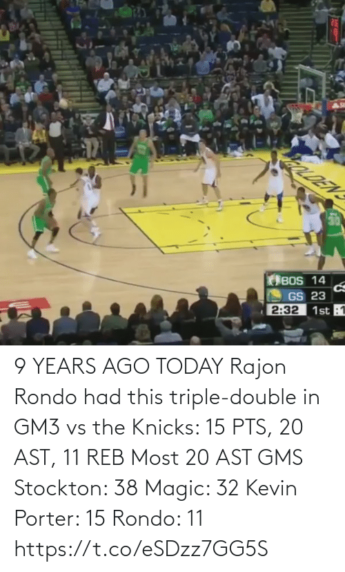 triple double: 9 YEARS AGO TODAY Rajon Rondo had this triple-double in GM3 vs the Knicks: 15 PTS, 20 AST, 11 REB  Most 20 AST GMS Stockton: 38 Magic: 32 Kevin Porter: 15 Rondo: 11  https://t.co/eSDzz7GG5S