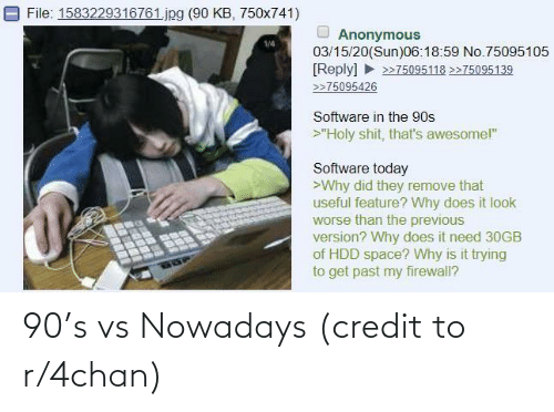 4chan: 90's vs Nowadays (credit to r/4chan)
