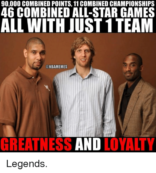 All Star, Nba, and Starred: 90,000 COMBINED POINTS, 11 COMBINED CHAMPIONSHIPS  46 COMBINED ALL-STAR GAMES  ALL WITH JUST 1TEAM  @NBAMEMES  GREATNESS  AND  LOYALTY Legends.