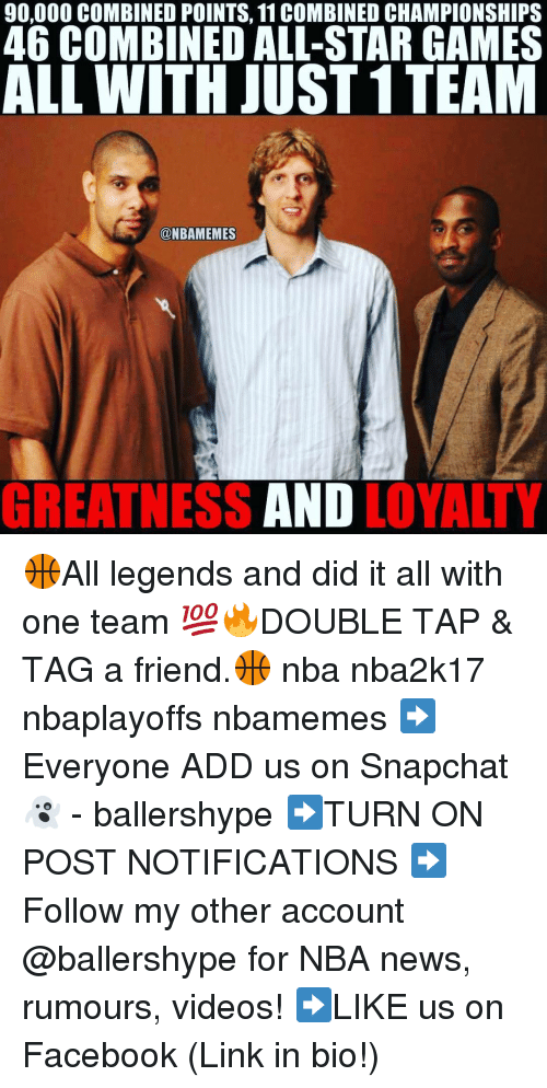 All Star, Nba, and Add: 90,000 COMBINED POINTS, 11 COMBINED CHAMPIONSHIPS  46 COMBINED ALL-STAR GAMES  ALL WITH JUST 1TEAM  NBAMEMES  AND  GREATNESS  LOYALTY 🏀All legends and did it all with one team 💯🔥DOUBLE TAP & TAG a friend.🏀 nba nba2k17 nbaplayoffs nbamemes ➡Everyone ADD us on Snapchat 👻 - ballershype ➡TURN ON POST NOTIFICATIONS ➡Follow my other account @ballershype for NBA news, rumours, videos! ➡LIKE us on Facebook (Link in bio!)