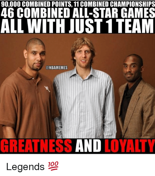 All Star, Memes, and Games: 90,000 COMBINED POINTS, 11 COMBINED CHAMPIONSHIPS  46 COMBINED ALL-STAR GAMES  ALL WITH JUST 1 TEAM  @NBAMEMES  GREATNESS  AND  LOYALTY Legends 💯