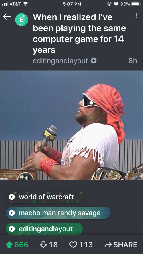 Macho Man Randy Savage: 90%  5:07 PM  l AT&T  When I realized I've  been playing the same  computer game for 14  years  8h  editingandlayout  WFW  world of warcraft  macho man randy savage  editingandlayout  SHARE  113  18  666  LE