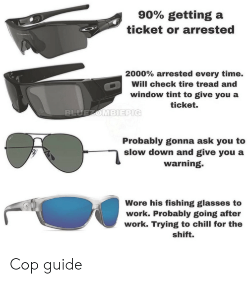 slow down: 90% getting a  ticket or arrested  2000% arrested every time.  Will check tire tread and  window tint to give you a  ticket.  Probably gonna ask you to  slow down and give you a  warning.  Wore his fishing glasses to  work. Probably going after  work. Trying to chill for the  shift. Cop guide