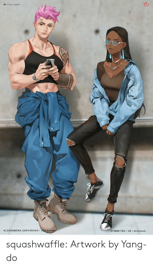 Tumblr, Blog, and Php: 90 STREET SNAPS  ALEKSANDRA ZARYANOVA 28 Soldier  SYMMETRA 28 I Architech squashwaffle:  Artwork by Yang-do