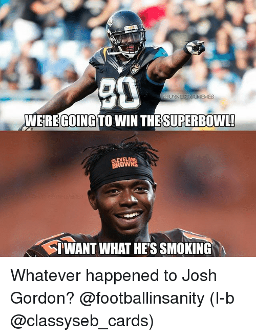 Nfl, Smoking, and Josh Gordon: 90  WEREGOING TO WIN THESUPERBOWL  BROWN  TWANT WHAT HE'S SMOKING Whatever happened to Josh Gordon? @footballinsanity (I-b @classyseb_cards)