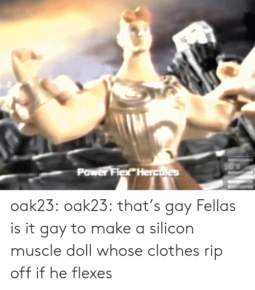 Flexes: 90's  Power Flex Herculcs oak23: oak23:  that's gay  Fellas is it gay to make a silicon muscle doll whose clothes rip off if he flexes