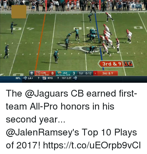 Memes, Nfl, and Pro: 92  07  20  O NFL  3rd &9KE  NFLLA. 7 n NYG 7 1ST 2:27 The @Jaguars CB earned first-team All-Pro honors in his second year...  @JalenRamsey's Top 10 Plays of 2017! https://t.co/uEOrpb9vCl