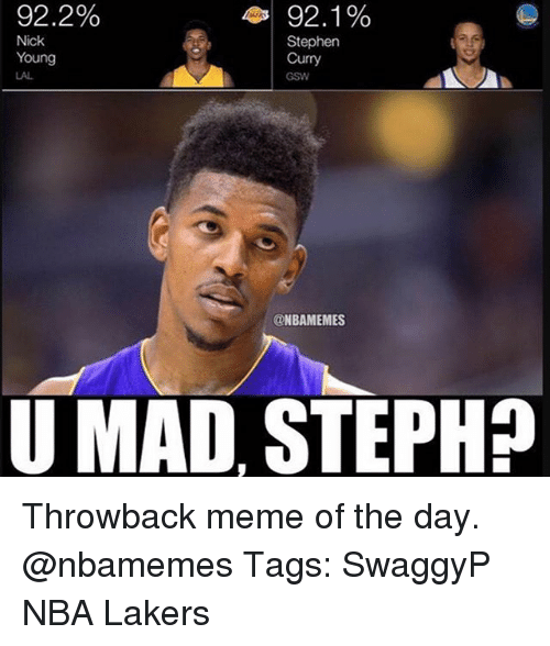 Los Angeles Lakers, Meme, and Memes: 92.2%  43 92.1%  Nick  Stephen  Young  Curry  GSW  NBAMEMES  U MAD, STEPH? Throwback meme of the day. @nbamemes Tags: SwaggyP NBA Lakers