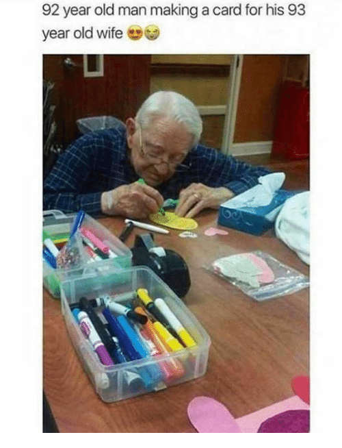 Dank, Old Man, and Wife: 92 year old man making a card for his 93  year old wife