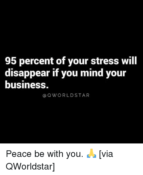 Business, Mind, and Peace: 95 percent of your stress will  disappear if you mind your  business.  @QWORLDSTAR Peace be with you. 🙏 [via QWorldstar]