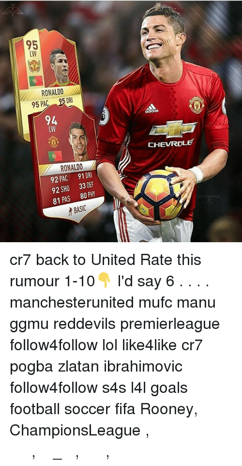 Zlatan Ibrahimovic: 95  RONALDO  95 PAC S5DRI  94  RONALDO  92 PAC 91 DRI  92 SH00 33 DEF  81 PAS 80 PHY  BASIC  oddas  CHEVROLET cr7 back to United Rate this rumour 1-10👇 I'd say 6 . . . . manchesterunited mufc manu ggmu reddevils premierleague follow4follow lol like4like cr7 pogba zlatan ibrahimovic follow4follow s4s l4l goals football soccer fifa Rooney, ChampionsLeague , ميسي , رونالدو , ريال_مدريد , برشلونة