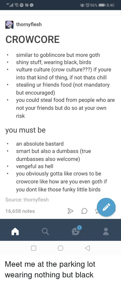 Dumbasses: 96% 1  18:40  thornyflesh  CROWCORE  similar to goblincore but more goth  shiny stuff, wearing black, birds  vulture culture (crow culture???) if youre  into that kind of thing, if not thats chill  stealing ur friends food (not mandatory  but encouraged)  you could steal food from people who are  not vour friends but do so at your own  risk  you must be  an absolute bastard  smart but also a dumbass (true  dumbasses also welcome)  vengeful as hell  you obviously gotta like crows to be  crowcore like how are you even goth if  you dont like those funky little birds  Source: thornyflesh  16,658 notes Meet me at the parking lot wearing nothing but black