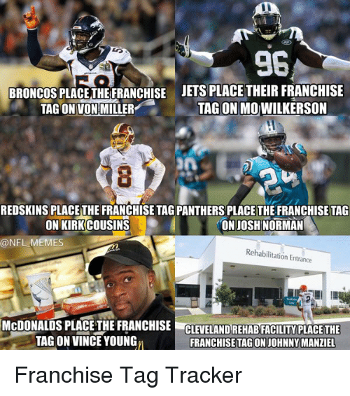Johnny Manziel, Josh Norman, and Von Miller: 96  BRONCOS PLACETHE FRANCHISE JETS PLACE THEIR FRANCHISE  TAG ON MO WILKERSON  TAG ON VON MILLER  REDSKINS PLACE THE FRANCHISE TAGPANTHERS PLACETHE FRANCHISE TAG  ON JOSH NORMAN  ON KIRKCOUSINS  NFL MEMES  Rehabilitation Entrance  McDONALDS PLACE THE FRANCHISE  CLEVELAND REHAB FACILITY PLACE THE  TAG ON VINCE YOUNGn  FRANCHISE TAGON JOHNNY MANZIEL Franchise Tag Tracker