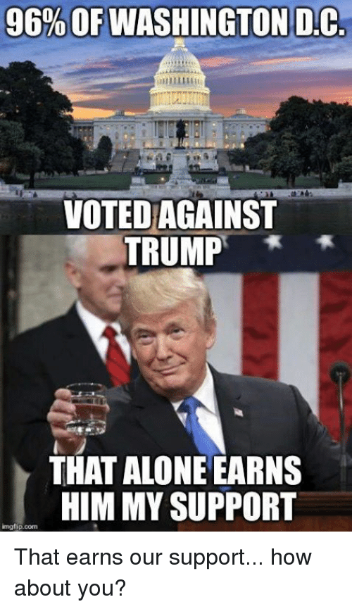 Being Alone, Trump, and Washington Dc: 96% OF WASHINGTON DC  VOTED AGAINST  TRUMP  THAT ALONE EARNS  HIM MY SUPPORT  imgflip.com That earns our support... how about you?
