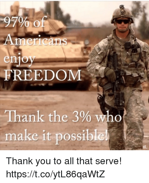 Memes, Thank You, and All That: 97% of  Ameicans  enjoy  FREEDOM  Thank the 3% Who  make it possiblel Thank you to all that serve! https://t.co/ytL86qaWtZ