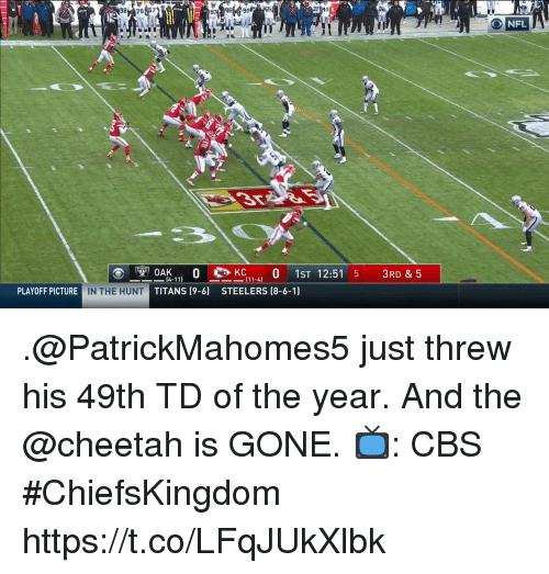 Cheetah: 98 787  26955  41  32  ONFL  OAK.1-4 0 1ST 12:51 5 3RD & 5  14-11)  TITANS (9-6)  PLAYOFF PICTURE  IN THE HUNT  STEELERS (8-6-1) .@PatrickMahomes5 just threw his 49th TD of the year.  And the @cheetah is GONE.  📺: CBS #ChiefsKingdom https://t.co/LFqJUkXlbk