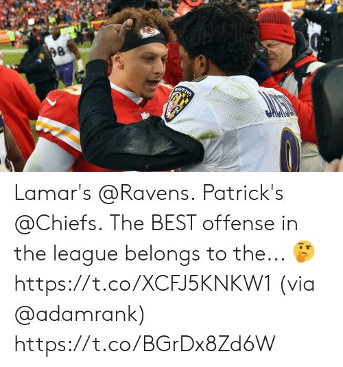 The League: 98  RAYENS Lamar's @Ravens. Patrick's @Chiefs.  The BEST offense in the league belongs to the... 🤔 https://t.co/XCFJ5KNKW1 (via @adamrank) https://t.co/BGrDx8Zd6W