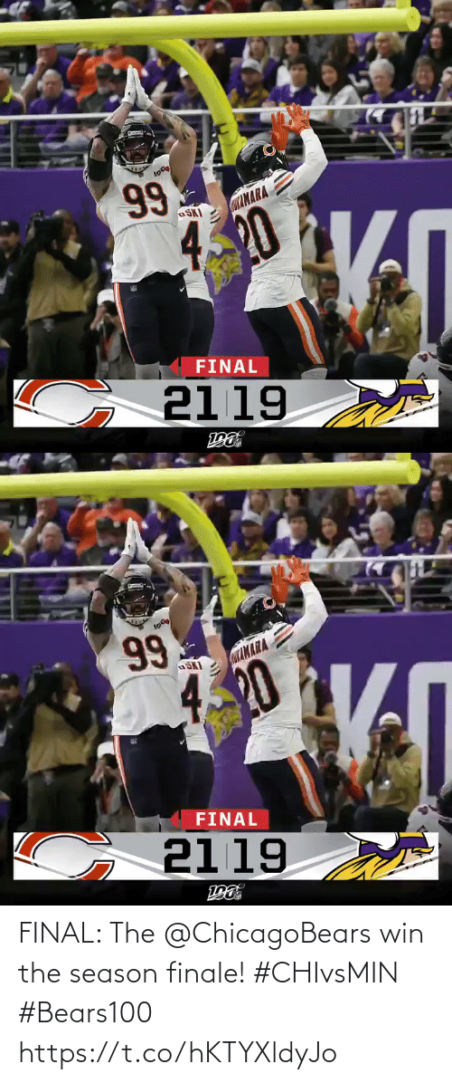 finale: 99  CaAMARA  OSKI  420  FINAL  G 2119   Lσ )  99  αΙΝΑΑ  4.20  FINAL  2119  ε FINAL: The @ChicagoBears win the season finale! #CHIvsMIN #Bears100 https://t.co/hKTYXldyJo