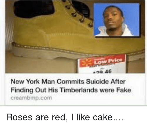Creambmp: 9a 46  New York Man Commits Suicide After  Finding Out His Timberlands were Fake  creambmp.com
