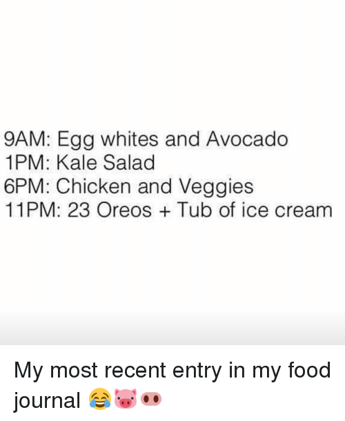Memes, Kale, and 🤖: 9AM: Egg whites and Avocado  1PM: Kale Salad  6PM: Chicken and Veggies  11PM: 23 Oreos Tub of ice cream My most recent entry in my food journal 😂🐷🐽