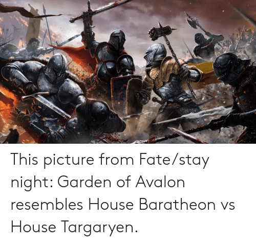 house baratheon: 9anime. to This picture from Fate/stay night: Garden of Avalon resembles House Baratheon vs House Targaryen.