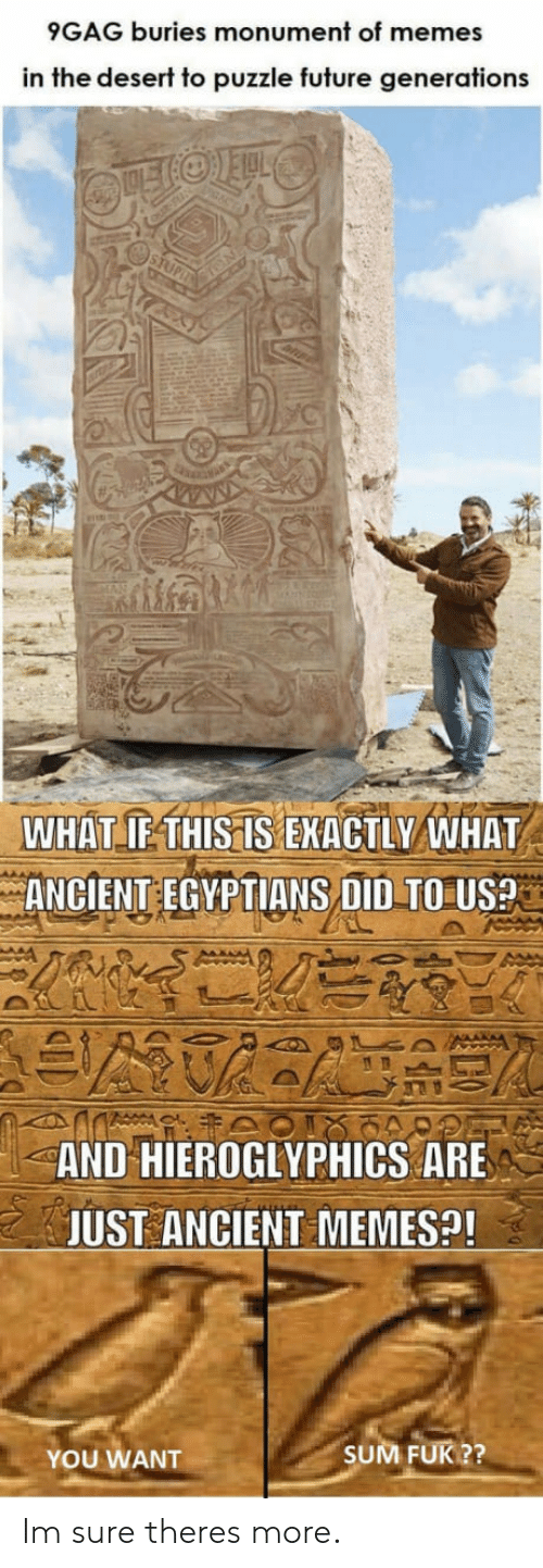 Ancient Memes: 9GAG buries monument of memes  in the deserf to puzzle fufure generations  WHAT IFTHISIS EKACTLY WHAT  ANCIENT EGYPTIANS DID TO Use  AND HIEROGLYPHICS ARE  JUST ANCIENT MEMES!  YOU WANT  SUM FUK ?? Im sure theres more.