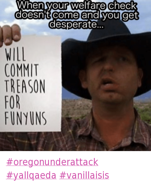 Desperate, Funyuns, and Guns: @fed_up_with_the_system_v1  When your welfare check doesn't come and you get desperate  Will commit treason for Funyuns oregonunderattack yallqaeda vanillaisis