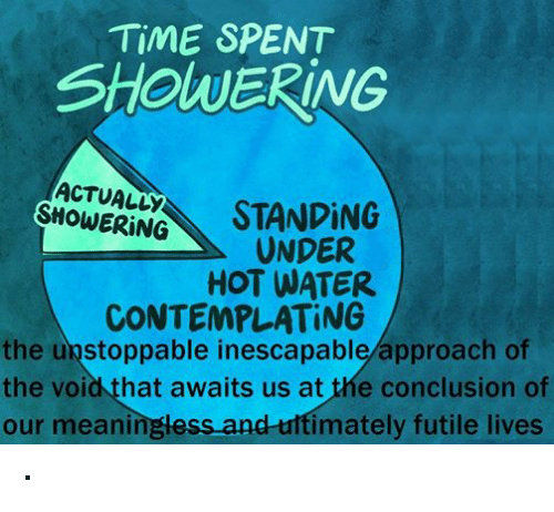 Shower, Live, and Time: TIME SPENT  SHOWERING  ACTUALLY  STANDING  UNDER  HOT WATER  CONTEMPLATING  the unstoppable inescapable approach of  the void that awaits us at the conclusion of  our meaningless and ultimately futile lives ·