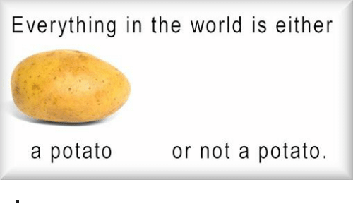 Potato, World, and Nihilist: Everything in the world is either  or not  a potato.  a potato ·