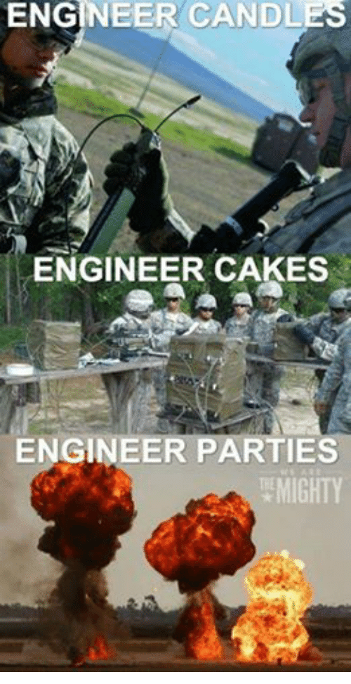 Military: ENGINEER CANDLES  ENGINEER CAKES  ENGINEER PARTIES  MIGHTY