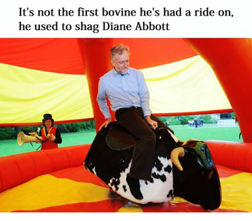 Dank Memes: It's not the first bovine he's had a ride on,  he used to shag Diane Abbott